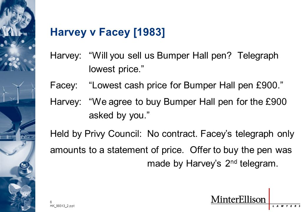 Harvey v Facey [1983] Harvey: Will you sell us Bumper Hall pen Telegraph lowest price. Facey: Lowest cash price for Bumper Hall pen £900.